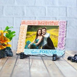 Rectangle stone plaque Photo with Name Art (12 x 18) cm Design 08