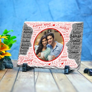 Rectangle stone plaque Photo with Name Art (12 x 18) cm Design 09
