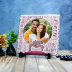 Square Shaped stone plaque Photo with Name Art (18 x 18) cm Design 22
