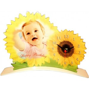 Sunflower designed Acrylic Photo Clock - small