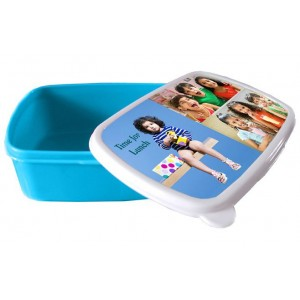 Personalized tiffin box for Kids with photo and message - Blue color backview