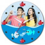 U and Me Personalized round wall clock with photo design