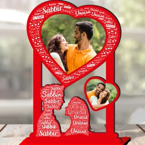 Personalized Photo Collage Table Stand Couple with Name Art 4 FREE SHIPPING backview
