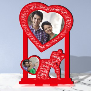 Personalized Photo Collage Table Stand Couple with Name Art 1 FREE SHIPPING backview