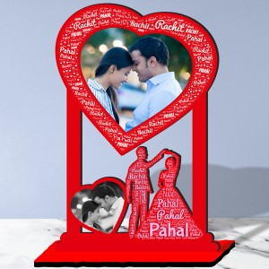 Personalized Photo Collage Table Stand Couple with Name Art 2 FREE SHIPPING backview