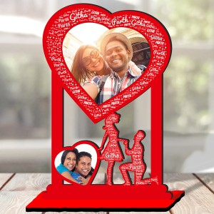 Personalized Photo Collage Table Stand Couple with Name Art 3 FREE SHIPPING backview