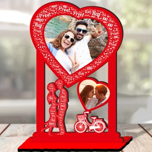 Personalized Table Stand Couple with Name Art 5 backview