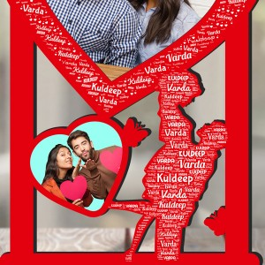 Personalized Photo Collage  Couple with Name Art 6  backview