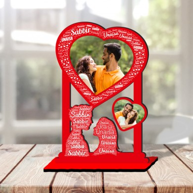 Personalized Photo Collage Table Stand Couple with Name Art 4 FREE SHIPPING