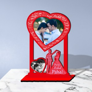 Personalized  Table Stand Couple with Name Art 2