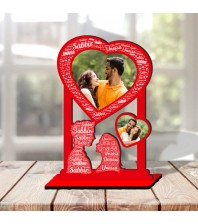 Personalized Table Stand Couple with Name Art 4