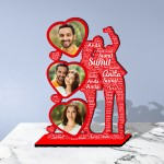Personalized Table Stand Selfie Couple with Name Art
