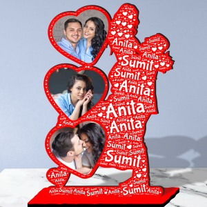 Personalized Photo Collage Table Stand with Name Art FREE SHIPPING backview