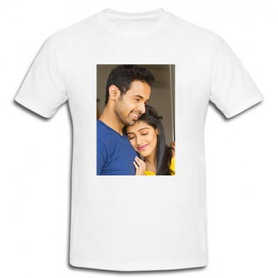 Personalized White Cotton T-Shirt Front side print