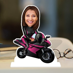 Bike Rider Lady Caricature Photo Stand In