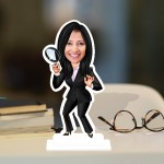Investigation Lady Caricature Photo Stand In