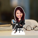 Office Lady Caricature Photo Stand In