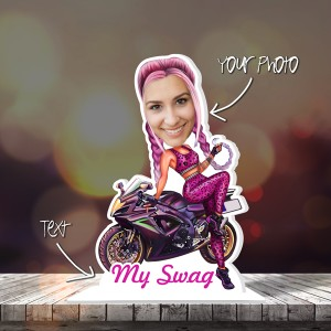 My Swag Girl Caricature Photo Stand In backview