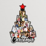 Wooden Christmas tree 15 photo wall hanging collage WC - 013