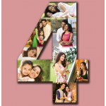 Wooden number hanging photo collage - large