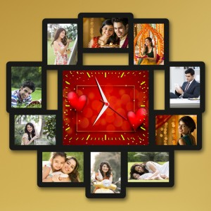 Wooden printed photo collage With Clock WC-002