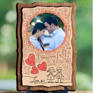 Personalized Wooden Photo Frame - Design Love backview