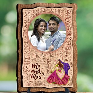 Personalized Wooden Photo Frame - Design Mr. and Mrs. backview