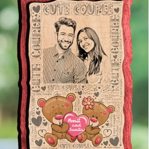 Personalized Wooden Photo Frame - Design Cute Couple backview