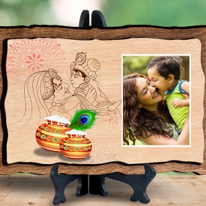 Personalized Wooden Photo Frame - Design Krishna backview