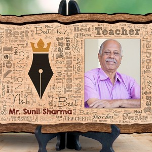 Personalized Wooden Photo Frame - No.1 Teacher backview