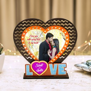 Love Photo Frame with Golden and Glitter Work