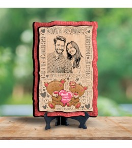 Personalized Wooden Photo Frame - Design Cute Couple