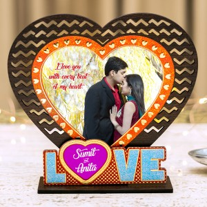 Love Photo Frame with Golden and Glitter Work backview