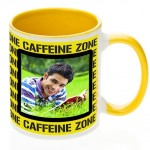 Yellow dual tone personalized photo mug