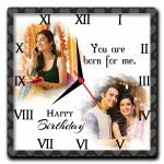You are born for me Personalized square wall clock birthday gift