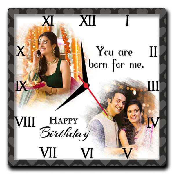 Buy Or Send Personalized Square Wall Clock Birthday Gift For Ladies Online