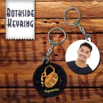 Zodiac Aquarius Both side round shape printable plastic keyring