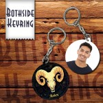 Zodiac Aries Both side round shape printable plastic keyring