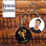 Zodiac Scorpio Both side round shape printable plastic keyring